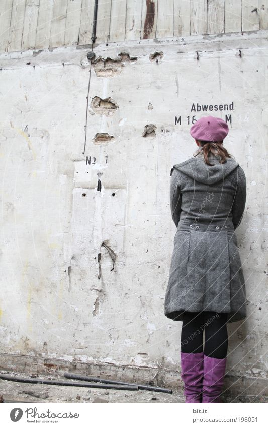 Old Youth (Young adults) Feminine Wall (building) Wood Wall (barrier) Back Concrete Characters Stand Derelict Violet Historic Cap Rotate Rear view