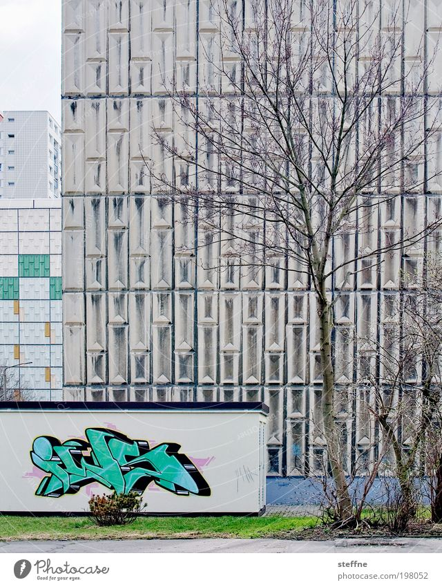 spring in haneu Tree Town Outskirts Overpopulated House (Residential Structure) High-rise Facade Gloomy Graffiti Spring Ghetto Colour photo Subdued colour