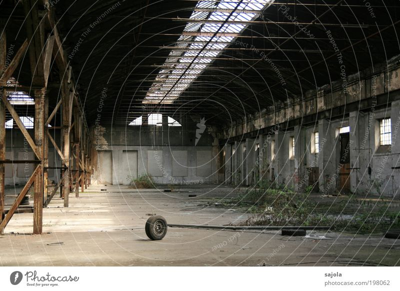 Plant Gray Stone Sadness Building Storage Metal Architecture Concrete Empty Factory Roof Change Transience Wheel