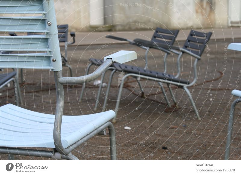 chairs Chair Asphalt Places Chain Metal Plastic Stand Blue Gray Esthetic Contentment Relaxation Symmetry Colour photo Exterior shot Deserted Day