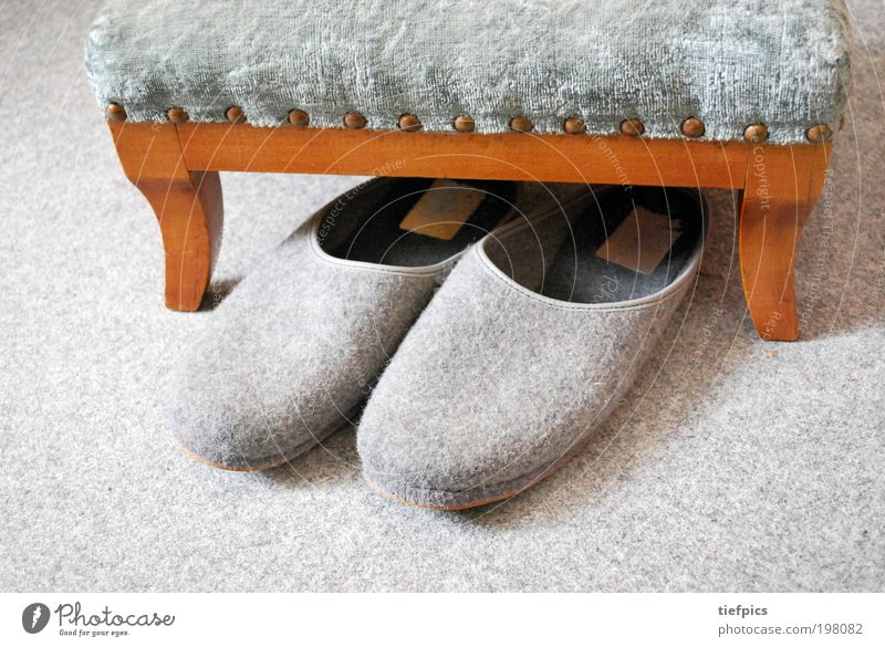 evening. Well-being Relaxation Old Cuddly Loneliness Contentment Retirement Retirement pension Home for the elderly Slippers Felt Stool Velvet felt slipper