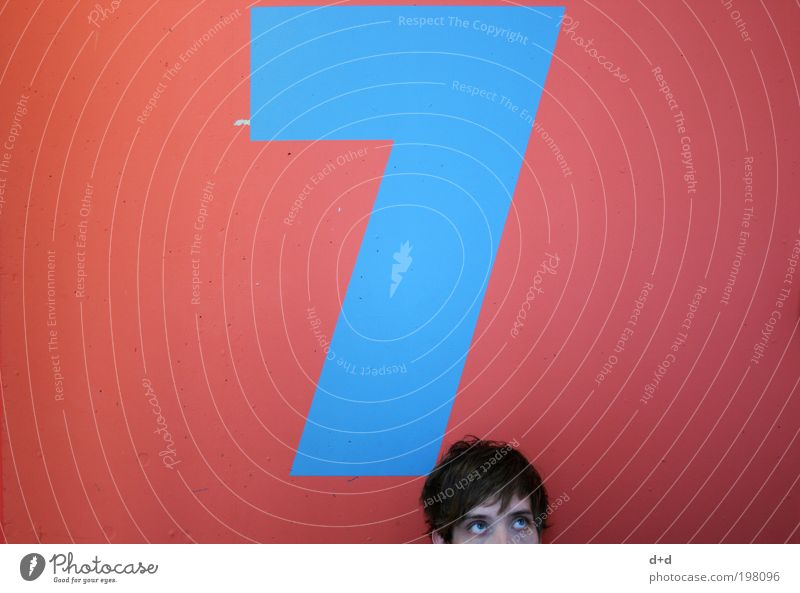 7 Hair and hairstyles Curiosity Red Blue Digits and numbers Story Wall (building) Above Looking Upward Wall decoration Painting (action, work) Colour
