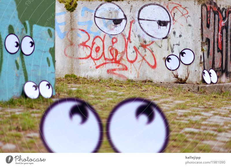 hey you? Eyes Wall (barrier) Wall (building) Looking Comic Graffiti Street art Ask Fatigue Looking into the camera Blur Surveillance tracking Observe Spy