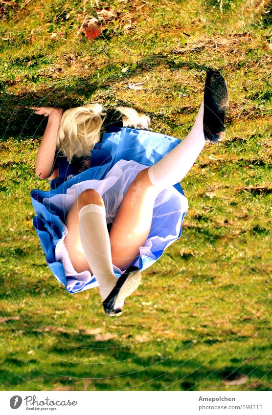 Human being Woman Youth (Young adults) Young woman 18 - 30 years Adults Feminine Grass Playing Legs Power Blonde Crazy Fantastic Joie de vivre (Vitality) Dress