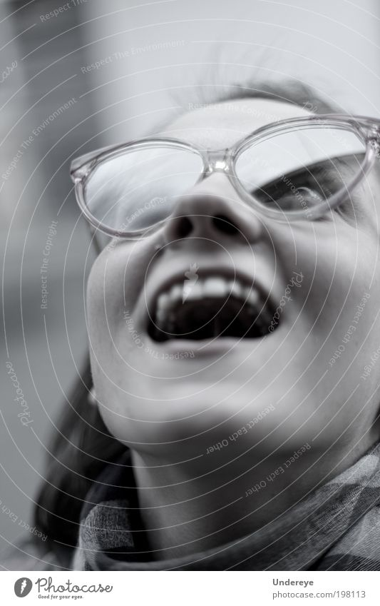 Glass Reflection 1 Human being Young woman Youth (Young adults) Face 18 - 30 years Adults To enjoy Grinning Eyeglasses Black & white photo Exterior shot Day