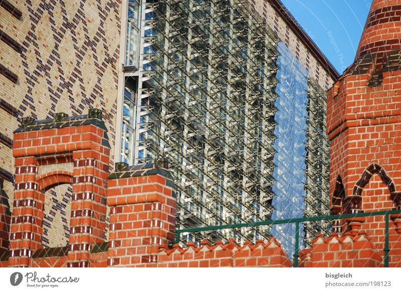 Red House (Residential Structure) Wall (building) Stone Wall (barrier) Brown Glass Facade Bridge Berlin Europe Capital city City Oberbaumbrücke