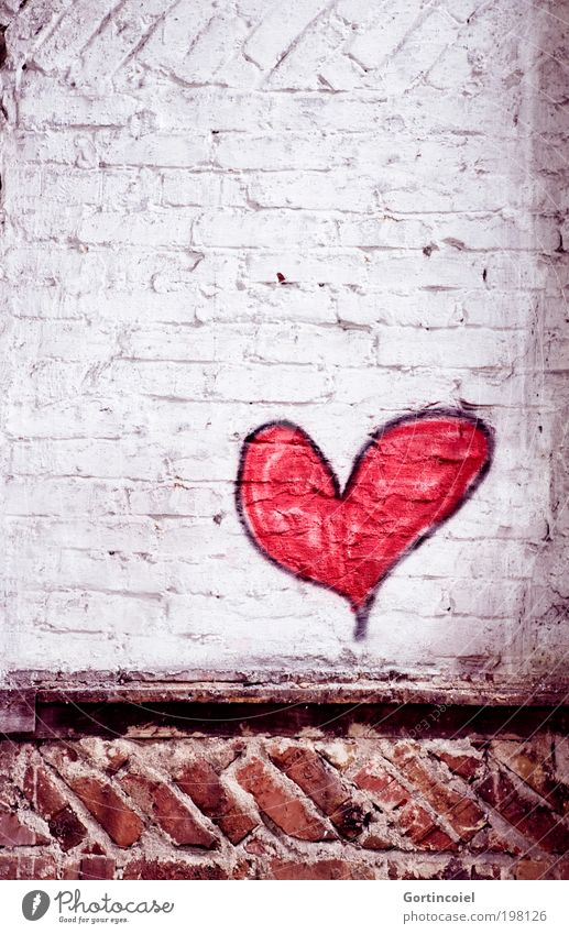 Old Red Love Wall (building) Stone Wall (barrier) Building Graffiti Heart Art Architecture Facade Romance Factory Transience