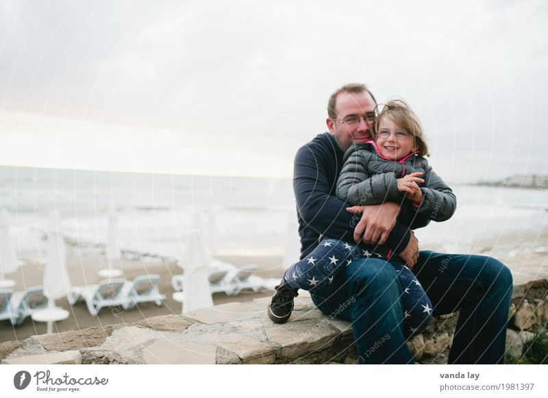So happy together Lifestyle Leisure and hobbies Playing Vacation & Travel Tourism Far-off places Beach Ocean Waves Human being Masculine Feminine Child Girl