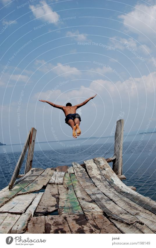 Human being Nature Youth (Young adults) Water Sky Blue Summer Joy Jump Wood Happy Lake Landscape Air Power Body