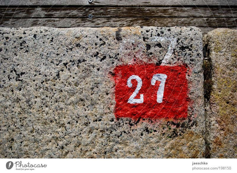 54:2 Stone Wood Digits and numbers Signs and labeling Old Authentic New Red 27 House number Parking space Parking space number Anniversary Year date
