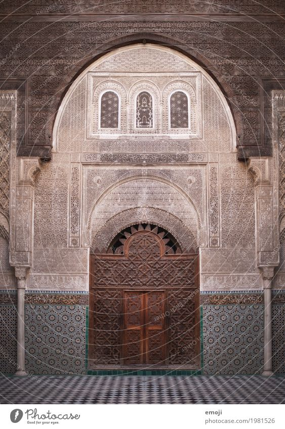 Fès Palace Building Architecture Wall (barrier) Wall (building) Facade Tourist Attraction Landmark Old Exceptional Symmetry Morocco Fez Ornament Colour photo