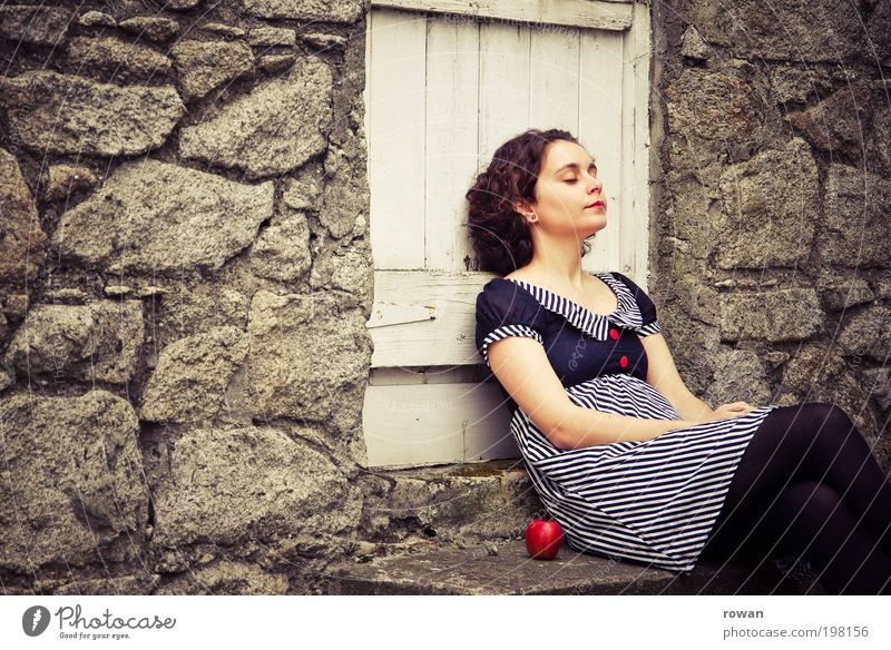 Woman Human being Youth (Young adults) Red Calm Relaxation Feminine Garden Wall (barrier) Warmth Adults Door Environment Fruit Sleep Retro