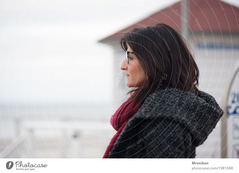 Human being Woman Ocean Clouds Calm Adults Cold Life Autumn Sadness Spring Coast Feminine Gray Dream Contentment