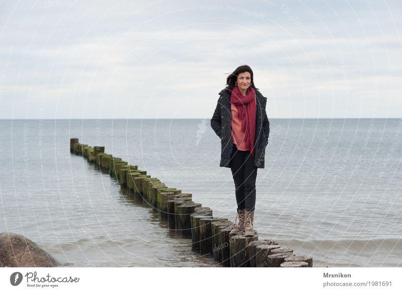 groyne Human being Feminine Woman Adults Life 1 30 - 45 years Sky Clouds Horizon Spring Autumn Waves Coast Beach Baltic Sea Ocean Observe Relaxation To enjoy