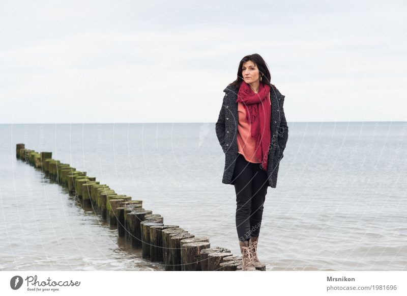 groyne Human being Feminine Woman Adults Life 1 30 - 45 years Environment Sky Clouds Spring Autumn Weather Waves Coast North Sea Baltic Sea Ocean Observe