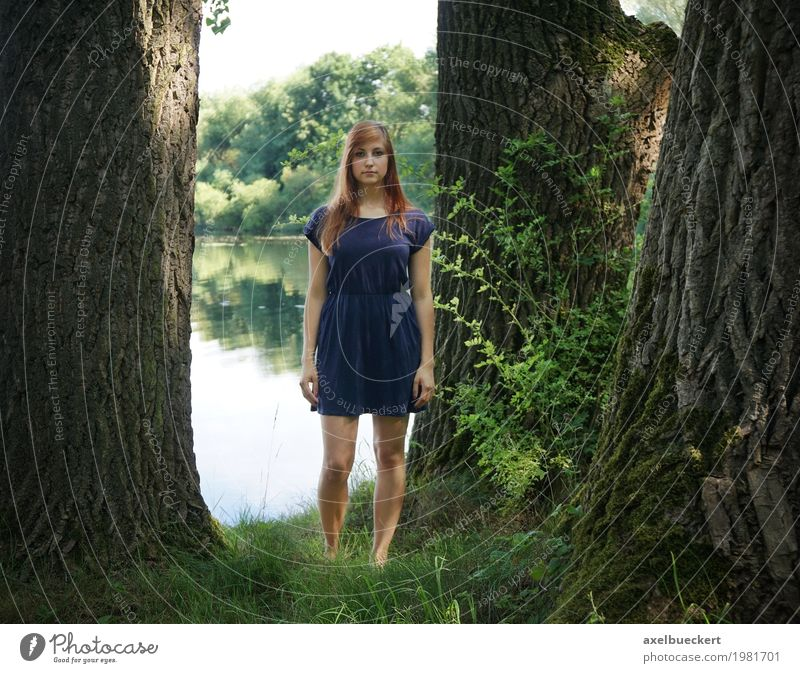 young woman at the lake between trees Lifestyle Leisure and hobbies Human being Feminine Young woman Youth (Young adults) Woman Adults 1 18 - 30 years Nature