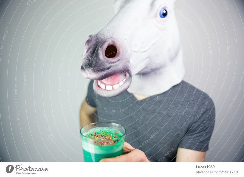 Blue Green Healthy Eating Animal Exceptional Glass Crazy Cool (slang) Beverage Coffee Drinking Horse Hip & trendy Mask Turquoise
