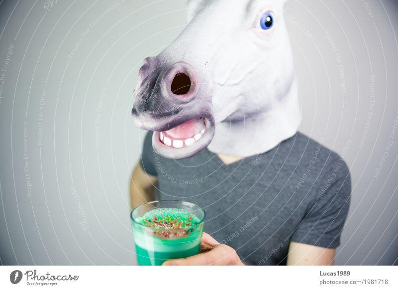 Unicorn Latte 1 Vegetarian diet Vegan diet Beverage Drinking Hot drink Coffee Latte macchiato Animal Horse unicorn Glass Granules Exceptional Cool (slang)