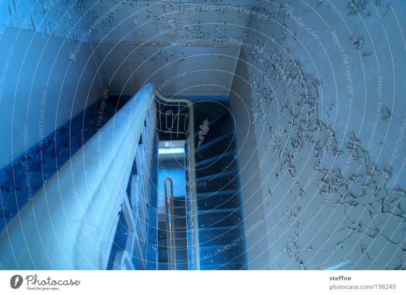 departure Stairs Old Old building Loneliness Plaster HDR Blue Handrail Downward Colour photo Multicoloured Interior shot