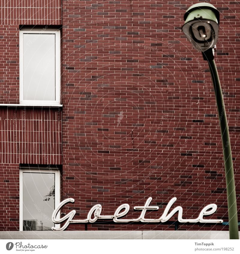 Window Wall (building) Wall (barrier) Lamp Signs and labeling Lantern Typography Word Frankfurt Profession Poetic Neon sign Hesse Lamp post Lettering Artist
