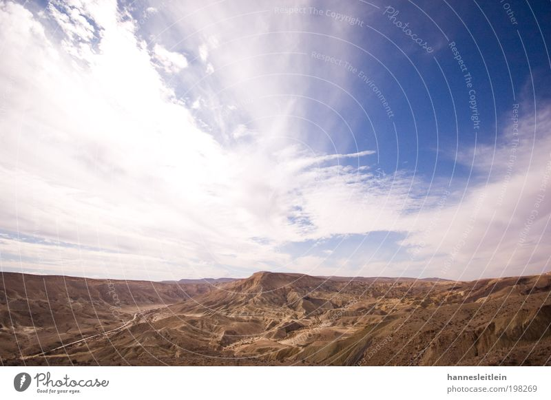 The sky over the Negev desert Environment Nature Landscape Earth Sand Sky Clouds Sun Summer Beautiful weather Warmth Drought Desert Israel Deserted Observe
