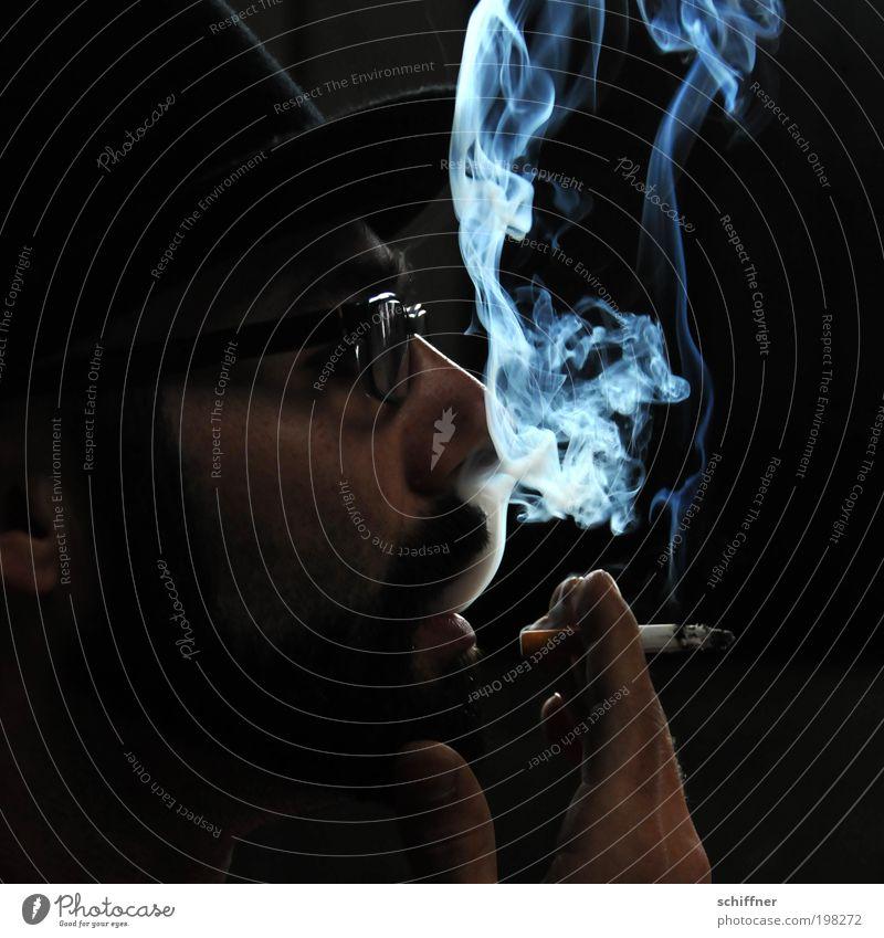 Smoke signal II [LUsertreffen 04|10] Man Adults To enjoy Smoking Face Nose Facial hair Eyeglasses Mouth Hand dark & gloomy Dark Mysterious Black Serene