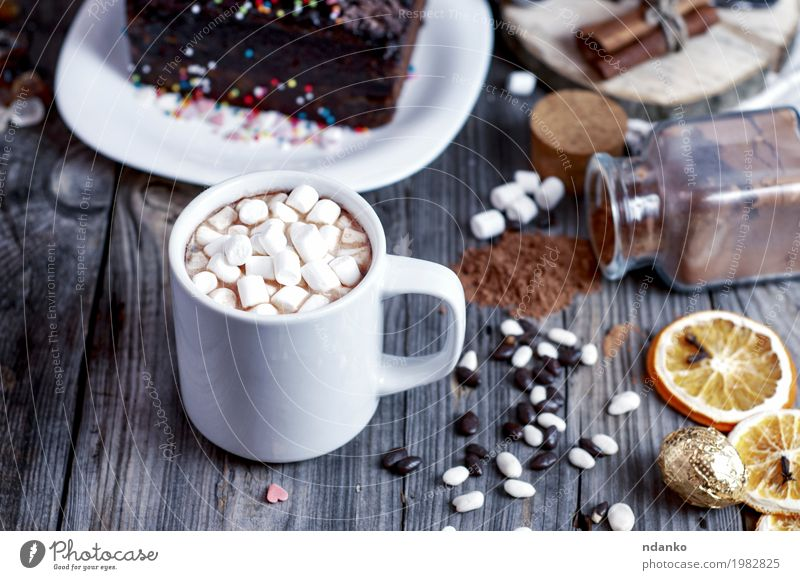 Cocoa with marshmallow on a gray wooden surface Cake Dessert Candy Beverage Hot drink Hot Chocolate Cup Mug Table Wood Eating Drinking Fresh Retro Brown Gray