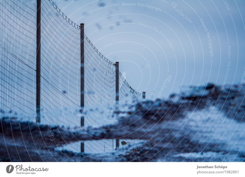 Sky Blue Water Rain Esthetic Gloomy Wet Grief Fence Net Border Puddle Dreary Mirror image Boundary Inverted