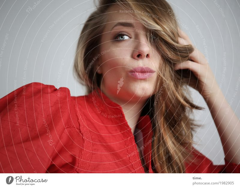 . Feminine Woman Adults 1 Human being Dress Blonde Long-haired Curl Observe Looking Beautiful Red Contentment Self-confident Cool (slang) Willpower Safety