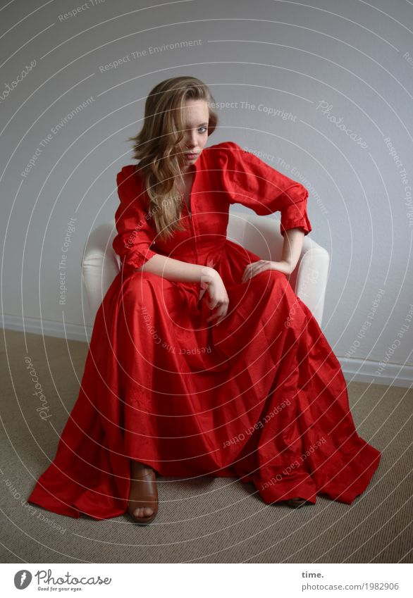 Nelly Armchair Room Feminine Young woman Youth (Young adults) 1 Human being Dress Blonde Long-haired Observe Think Looking Sit Wait Beautiful Self-confident