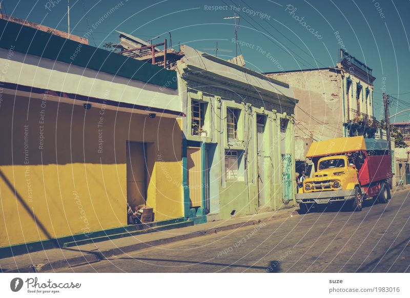 Vacation & Travel Old Summer Blue House (Residential Structure) Street Yellow Funny Time Exceptional Car Retro Esthetic Fantastic Past Old town