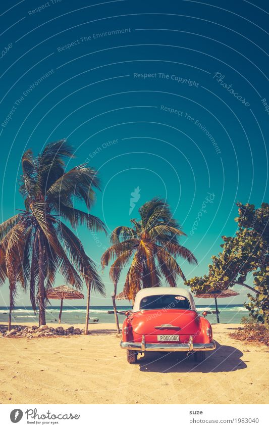 Holiday greetings from Cuba Lifestyle Design Vacation & Travel Summer Summer vacation Beach Sand Coast Bay Ocean Means of transport Car Taxi Vintage car Old