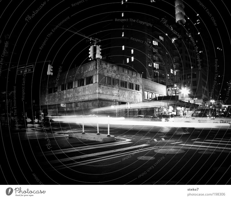 dark lights New York City Deserted House (Residential Structure) Facade Traffic infrastructure Crossroads Car Old Driving Cold Gloomy Town Loneliness Decline