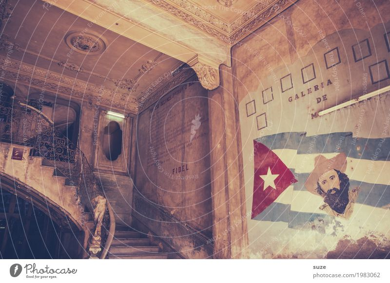 Old House (Residential Structure) Architecture Interior design Building Stairs Retro Culture Poverty Transience Change Past Sign Symbols and metaphors Flag