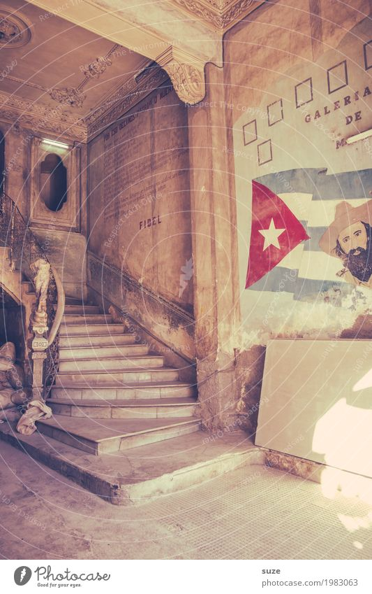 House (Residential Structure) Architecture Interior design Building Stairs Retro Culture Poverty Transience Change Sign Past Symbols and metaphors Old town Flag