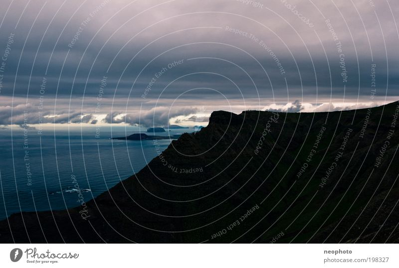 Sky Water Blue Ocean Clouds Black Mountain Landscape Coast Air Horizon Island Elements Gale Low-key Volcano