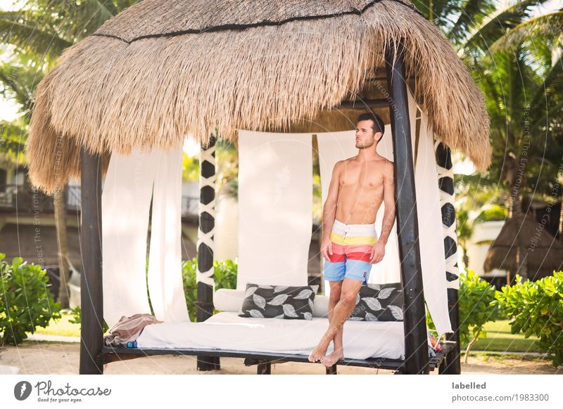 A young man relaxing on his beach vacation Human being Masculine Young man Youth (Young adults) Body Skin Chest 1 18 - 30 years Adults Summer Exotic Beach