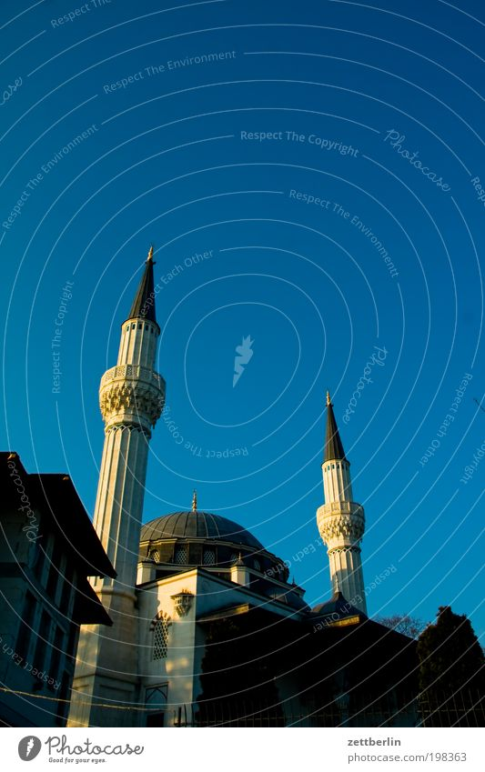 mosque Berlin Neukölln sehitlik Mosque Islam Moslem Religion and faith Koran Tower Minaret muezzin Domed roof Sky Beautiful weather Cloudless sky Summer Turkey