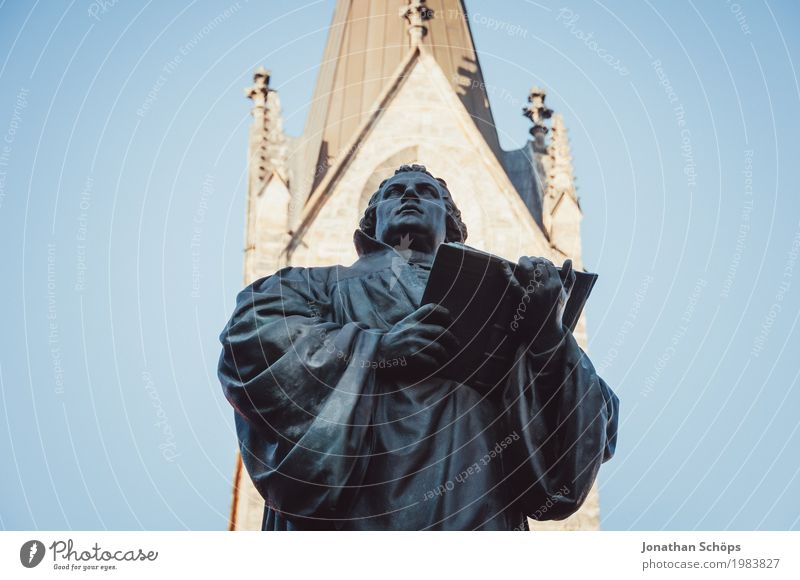 Martin Luther VIII 500 Christianity Erfurt Protestantism Religion and faith God Jubilee Orientation Reform Speech Blue sky Colour photo Statue Monument Change