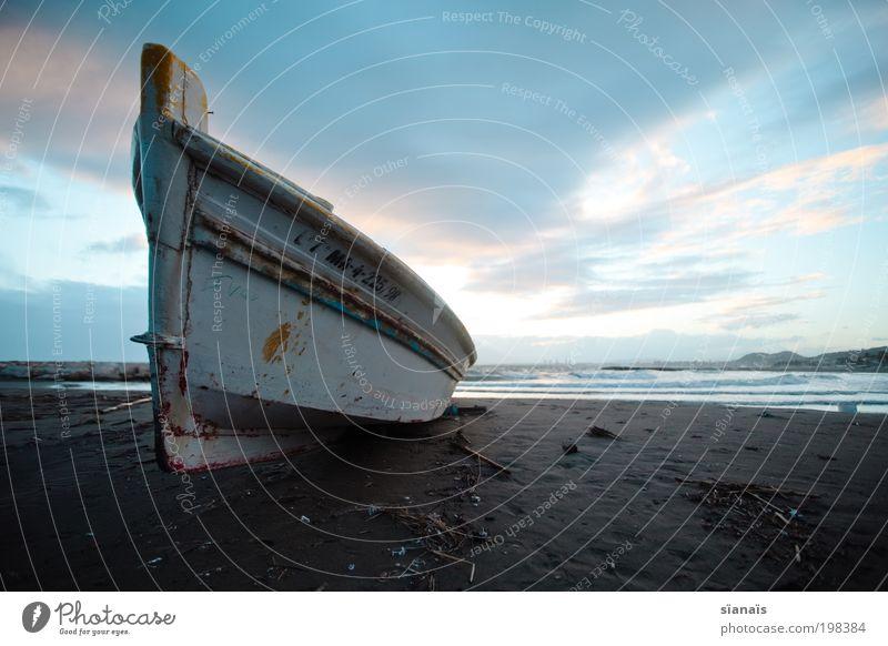 Old Ocean Blue Beach Calm Dark Cold Dream Watercraft Poverty Horizon Idyll Creepy Navigation Human being Ferry