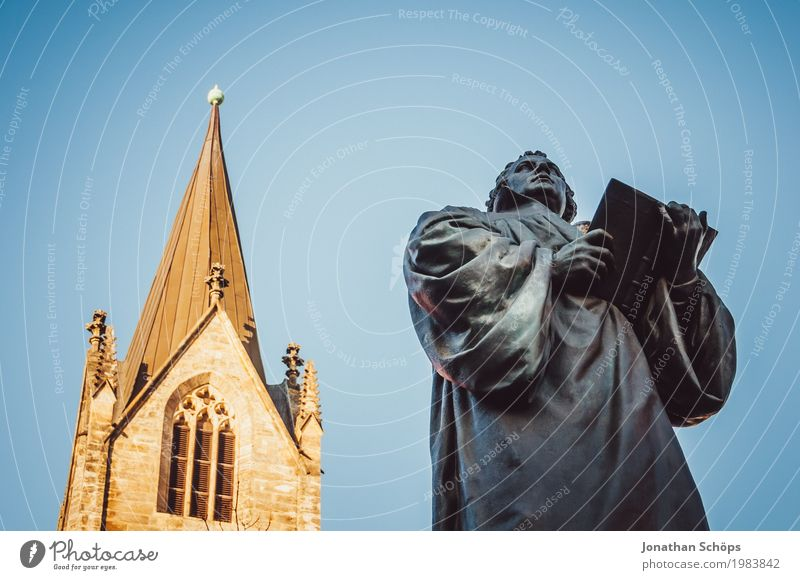 Martin Luther XII 500 Christianity Erfurt Protestantism Religion and faith God Jubilee Orientation Reform Speech Blue sky Colour photo Statue Monument Change