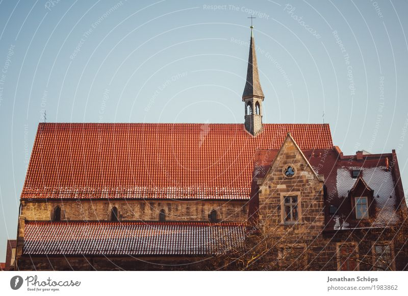 Ursuline monastery Erfurt I Winter Capital city Downtown Old town Church Tower Manmade structures Building Architecture Facade Roof Tourist Attraction Historic