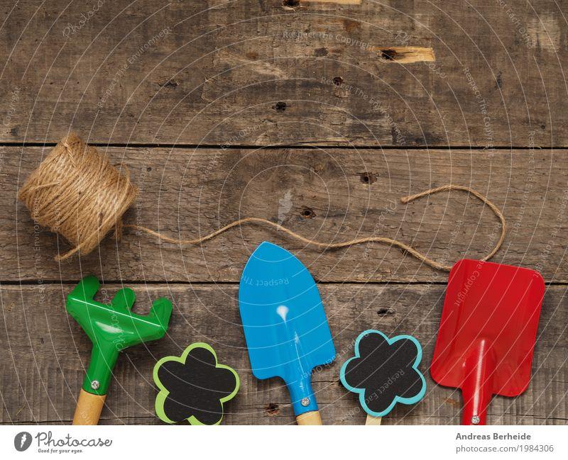 Summer Spring Retro Equipment Wooden table Sewing thread Gardening Shovel Rake Gardening equipment