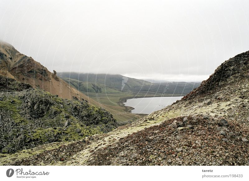 over the mountain Environment Nature Landscape Elements Water Bad weather Hill Rock Lake Frostastaðavatn Iceland Calm Target Cloud cover Gravel Stone Moss
