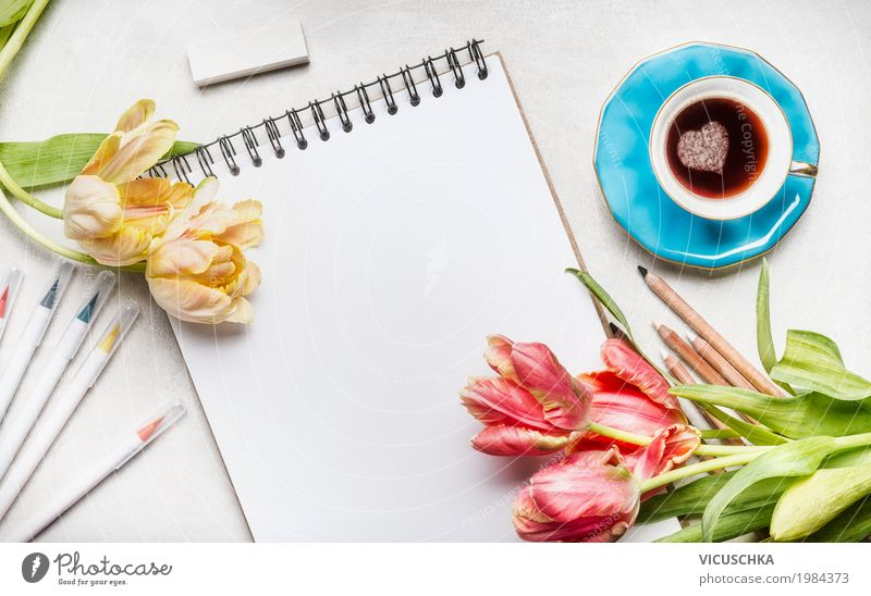 Tulips, notepad with coloured marker and coffee cup Lifestyle Style Design Table Feasts & Celebrations Valentine's Day Mother's Day Workplace Office Feminine