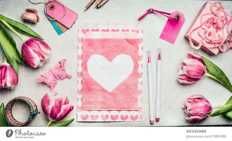 Pink tulips flowers and paper envelope with heart Style Design Leisure and hobbies Interior design Decoration Feasts & Celebrations Valentine's Day Mother's Day
