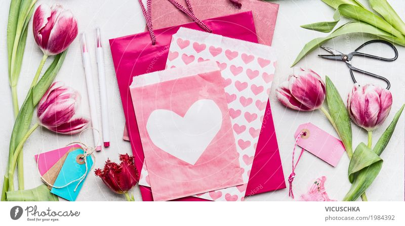 Tulips with pink paper bags and envelope with heart Style Design Joy Handicraft Feasts & Celebrations Valentine's Day Mother's Day Birthday Flower Paper Pen