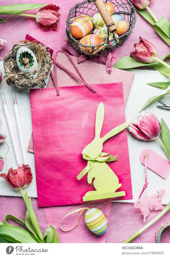 House (Residential Structure) Interior design Style Feasts & Celebrations Design Pink Living or residing Decoration Paper Sign Easter Bouquet Egg