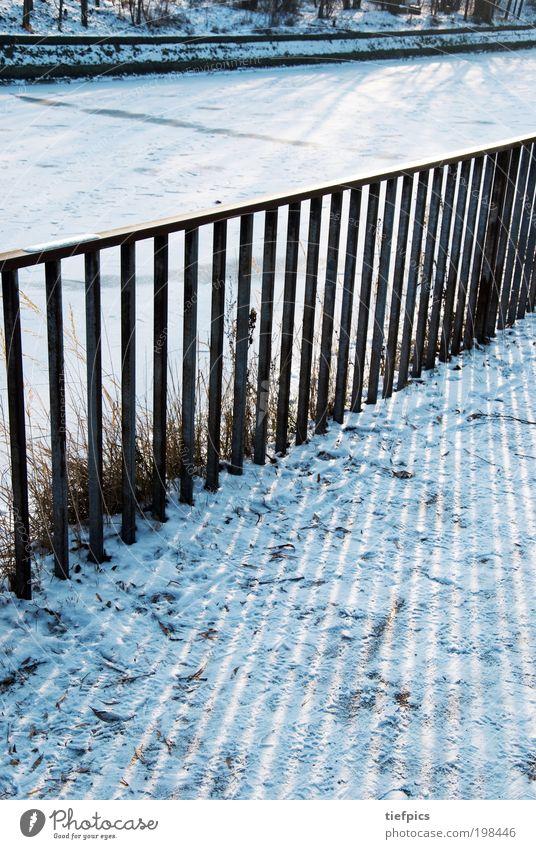 Blue Winter Snow Coast Park Ice Trip Stripe Frost To go for a walk Sidewalk Frozen Handrail Fence Brook Channel