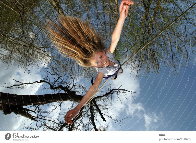 Human being Child Summer Joy Feminine Laughter Hair and hairstyles Jump Happy Air Infancy Contentment Flying Adventure Exceptional Rope
